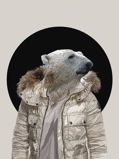 hybrid (polar bear ) print with acrylic sheet from Paul Kingsley Squire Urban art artwork at Deep West Gallery