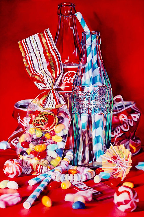 Coke and Jelly beans print from Kate Brinkworth urban art artwork at Deep West Gallery