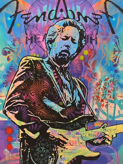 Eric Clapton- blue Portrait, Giclee print, Street art by Dean Russo at Deep West Gallery
