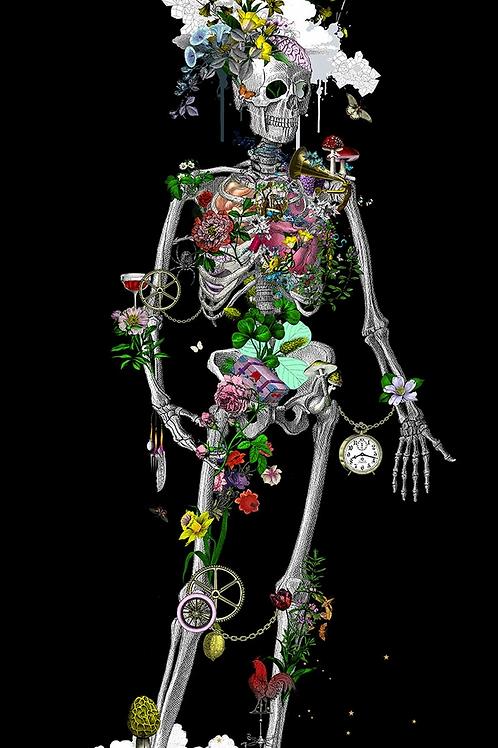 black still skeleton print, Urban and Street art by Kristjana S Williams at Deep West Gallery