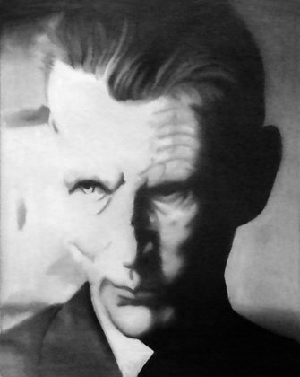 Samuel Beckett portrait oil painting, urban art from Alfonso Ragone at Deep West Gallery