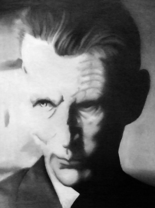 Samuel Beckett portrait oil painting, urban art from Alfonso Ragone at Deep West Gallery