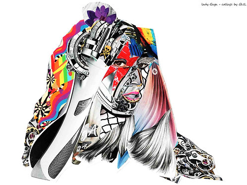 Lady Gaga's portrait from Glil Collage artwork at Deep West Gallery