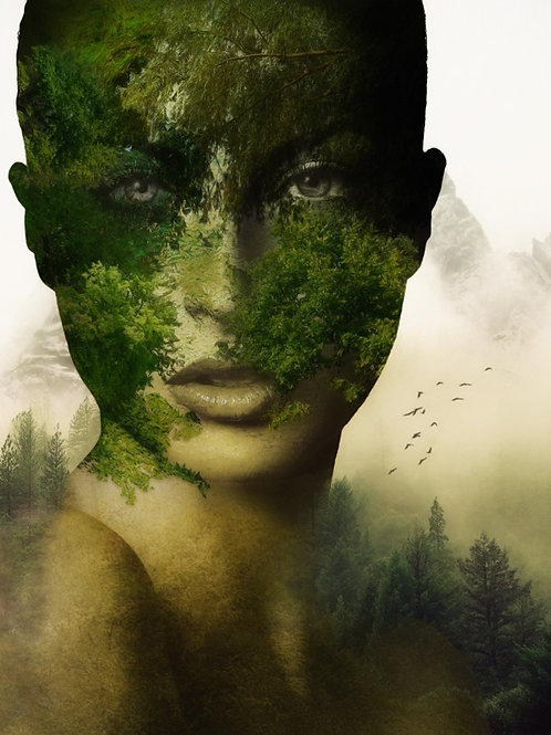 takeover woman  portrait from Erik Brede' s abstract artwork ( digital portraits print with flowers )at Deep W