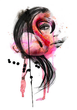 Pink Lady portrait, print, urban artwork by Kerry Beall at Deep West Gallery