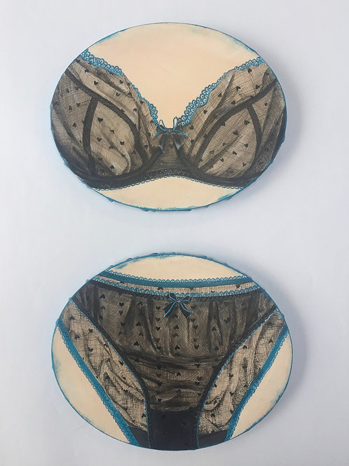 two set of heart lingerie ovals original painting on canvas from Anne-Marie Ellis Contemporary art artwork at Deep West Galle