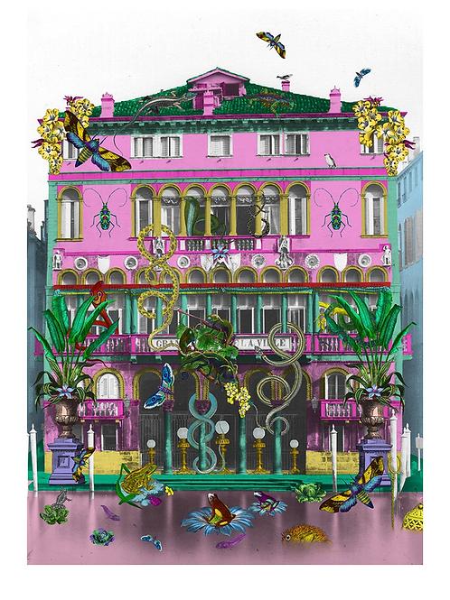 Reptilian Rosa Holl print, Urban and Street art by Kristjana S Williams at Deep West Gallery
