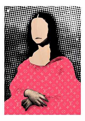 Mona lisa portrait in Pink, LV Brand, Digital art, urban artwork by Andrea Visconti at Deep West Gallery