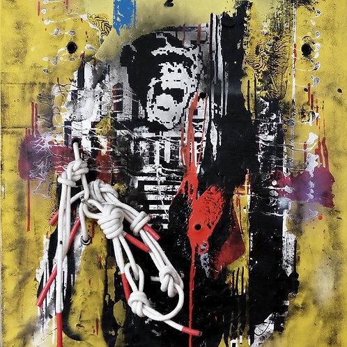 Skull spray painting from Zsolt Gyarmati Street (Graffiti ) original artwork at Deep West Gallery