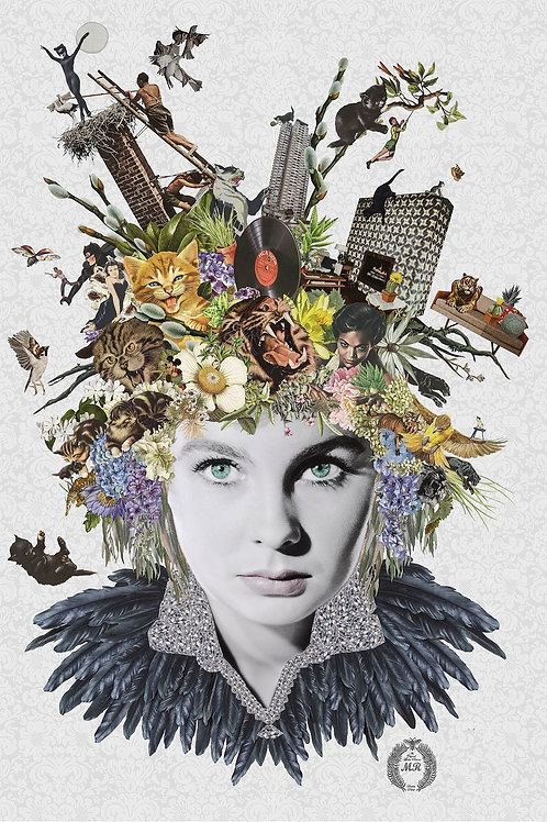 Jean Simmons ' collage print - Maria Rivans artwork at Deep West Gallery