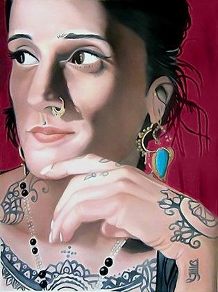 India tattoo artist Saira Hunjan portrait oil painting, urban art from Alfonso Ragone at Deep West Gallery