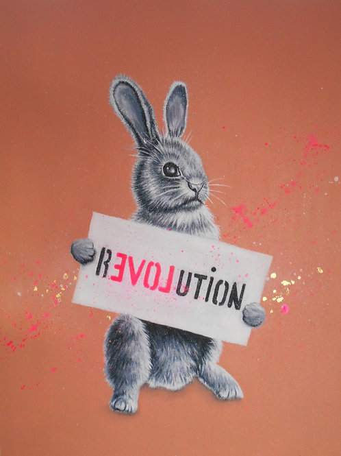 rabbit ravolution painting, Acrylic and oil on canvas, Street and urban art, by Annette Jansen at Deep West Gallery