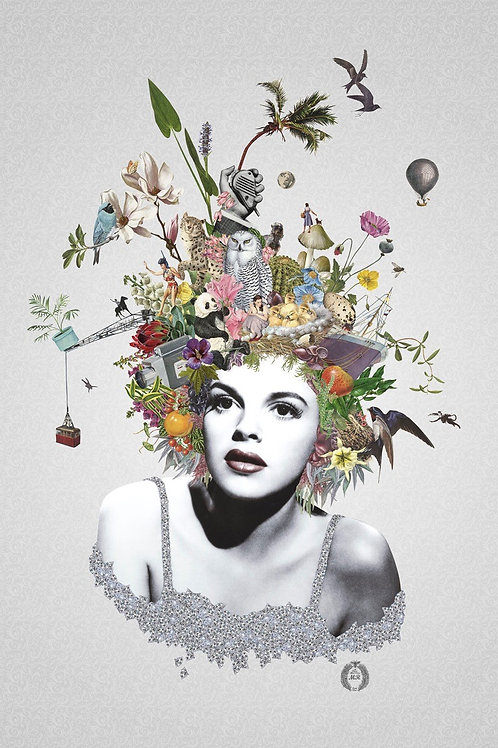 Judy Garland Portrait  collage print - Maria Rivans artwork at Deep West Gallery