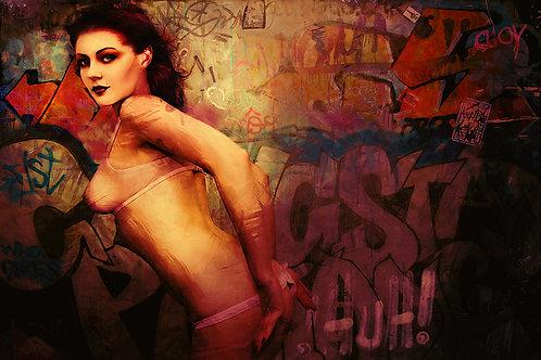 Sexy Beauty Portrait -Sweetheart - Street art -Dark art by Deadmansdust at Deep West Gallery