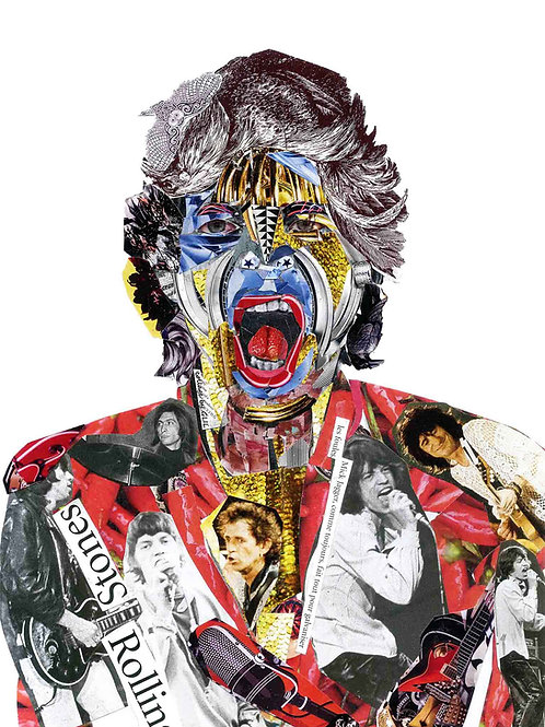 MIck Jagger's portrait from Glil Collage artwork at Deep West Gallery