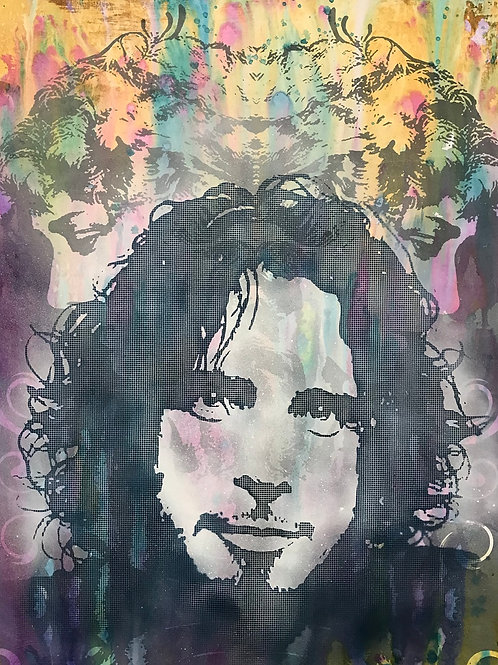 Chris Cornell acrylic and spray painting, Collage art, Street art by Dean Russo at Deep West Gallery