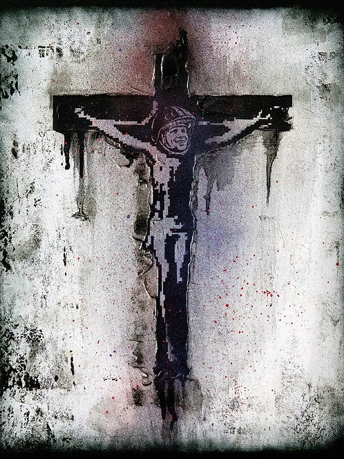 Jesus christ spray painting from Zsolt Gyarmati Street (Graffiti ) original artwork at Deep West Gallery