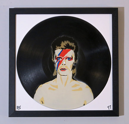 David Bowie, Spray Painting and Stencil on Vinyl Record, Street art, by Anna Jaxe at Deep West Gallery