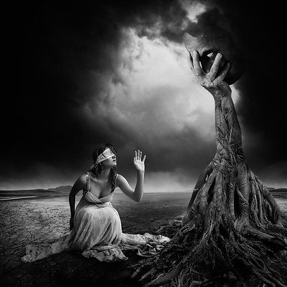 A lady under the Tree , black and white - Erik Brede' s abstract artwork ( digital artworks )at Deep West Gallery