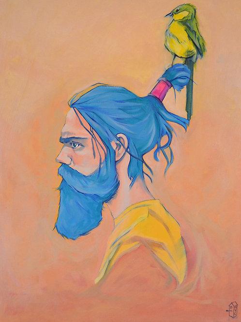 Man with mustache,  Urban art  , original painting - Mark Hooley artwork at Deep West Gallery