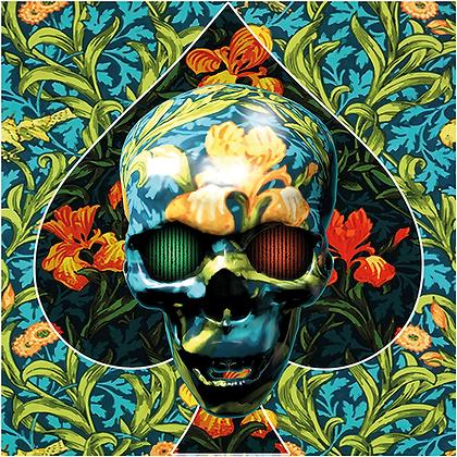 Skull with flowers giclee print, digital art & Pop art by David Williamson at Deep West Gallery