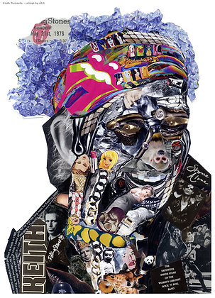 Keith Richards' portrait from Glil Collage artwork at Deep West Gallery
