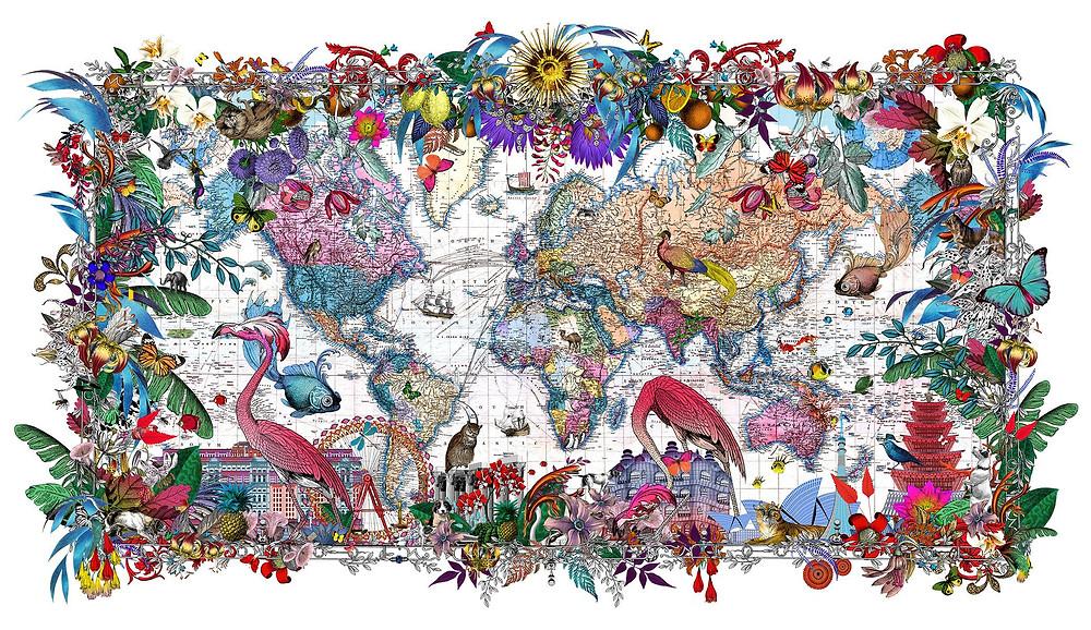 World Map, bids, trees, flowers