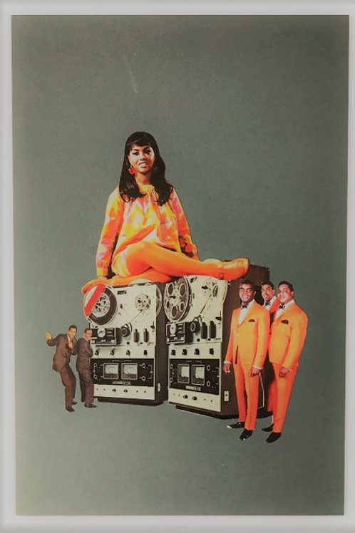 moto, collage art, orange couples, portraits