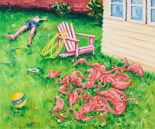 Sun bath at back yard oil  painting from Joe Carrozzo urban art artwork at Deep West Gallery