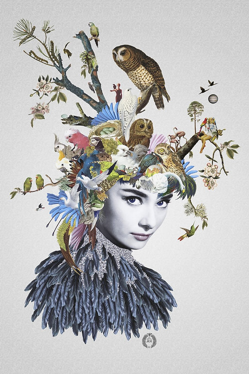 Audrey Hepburn Portrait  collage print - Maria Rivans artwork at Deep West Gallery
