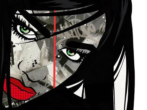 sachiko girl original painting by graffiti artist  machOne at Deep West Gallery