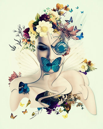beauty portrait from Erik Brede' s abstract artwork ( digital portraits print with flowers )at Deep West Gallery
