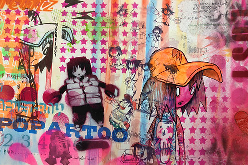 Magnet boy comics,  Urban art print - Mark Hooley artwork at Deep West Gallery