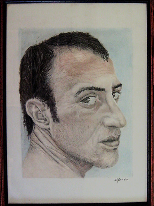Unknow male  portrait drawing, sketch, urban art from Alfonso Ragone at Deep West Gallery