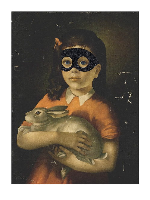 Girl, bunny with eye mask portrait, Giclee print from Shuby, Urban and Street  art artwork at Deep West Gallery