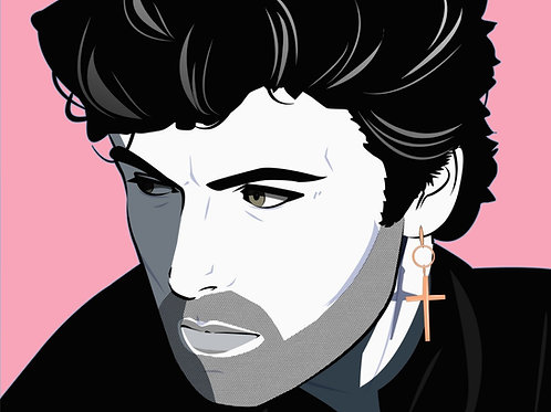 George Michael male portrait print and original work , Pop art by Agent X at Deep West Gallery