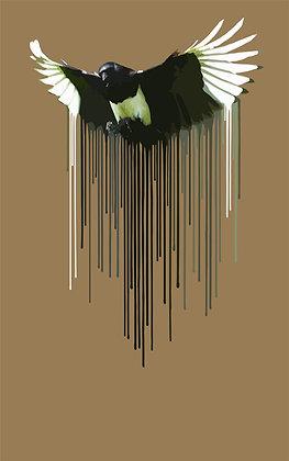 Magpie- brown, Giclee print, Pop art, Urban art,  by Carl Moore at Deep West Gallery