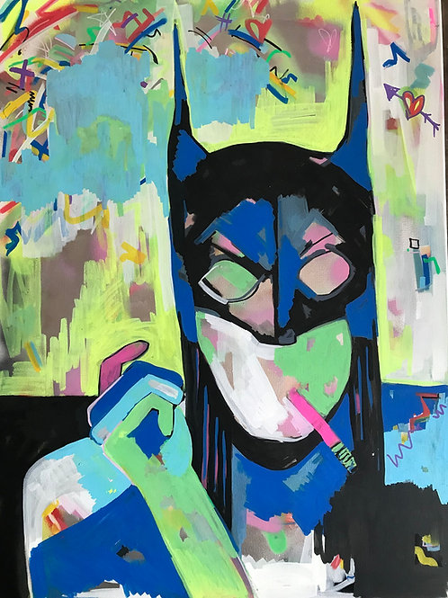 Batgirl with Cigarette's spray painting from GrAzie Street (Graffiti ) artwork at Deep West Gallery