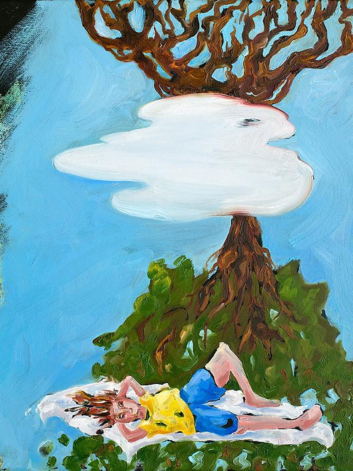 Dreaming under the tree oil  painting from Joe Carrozzo urban art artwork at Deep West Gallery