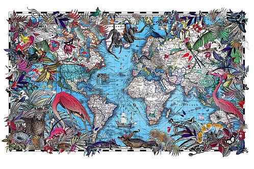 Butterflies, flowers and birds world map print, Urban and Street art by Kristjana S Williams at Deep West Gallery