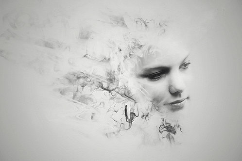 smokey beauty black and whtie portrait - Erik Brede' s abstract artwork ( digital artworks )at Deep West Gallery