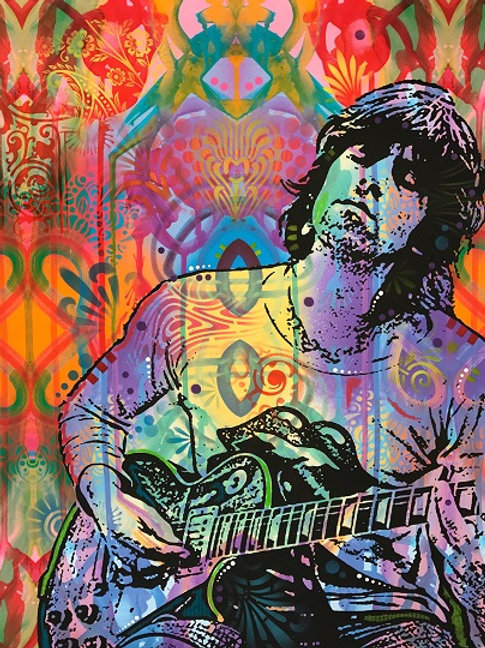 Keith Richards - Red, Giclee print, Street art by Dean Russo at Deep West Gallery