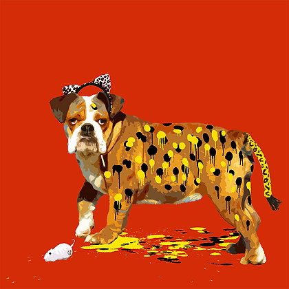Dog, Leopard Giclee print, Pop art, Urban art,  by Carl Moore at Deep West Gallery