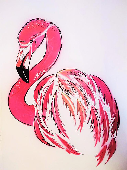 Pink Flamingo original painting from British urban artist Emily Donald artwork at Deep West Gallery