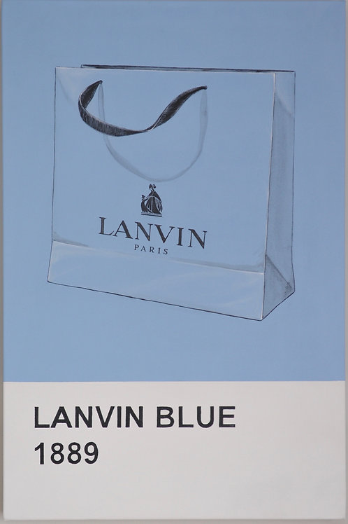 Lanvin Blue bag original painting on canvas from Anne-Marie Ellis Contemporary art artwork at Deep West Galle