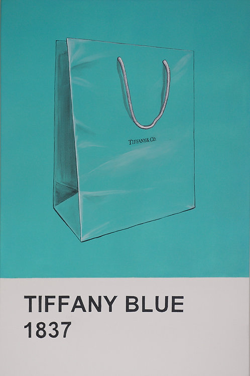 Tiffany blue bag original painting on canvas  from Anne-Marie Ellis Contemporary art artwork at Deep West Galle