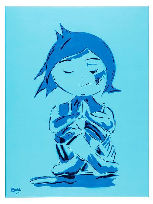Praying Girl Portrait in Blue,  giclee print - Mini Gabi Urban artwork ,at Deep West Gallery