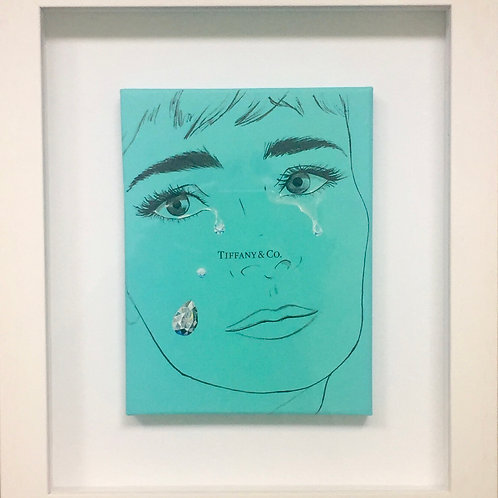 Tiffany boxlid crying diamonds original painting on canvas from Anne-Marie Ellis Contemporary art artwork at Deep West Galle