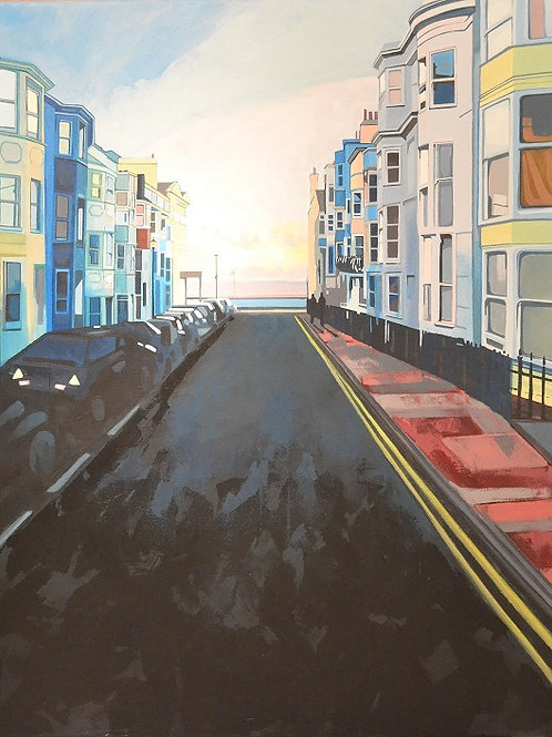 Brighton Street at Dusk,  Urban art  , original painting - Mark Hooley artwork at Deep West Gallery