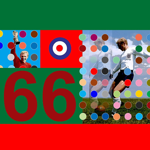 Bobby Moore football player digital painting canvas, Pop art by Gordon Coldwell at Deep West Gallery